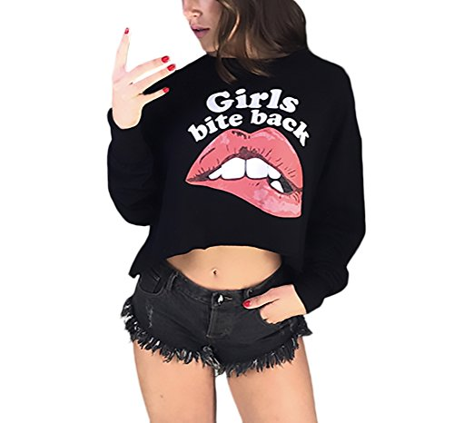 Damen Tumblr Sweatshirts Kurz Bluse Langarm Rundhals Gedruckte Lippen Mädchen Vintage Anime Hemd Grundiert Elegant Herbst Mode Crop Top Langarmshirt Pullover