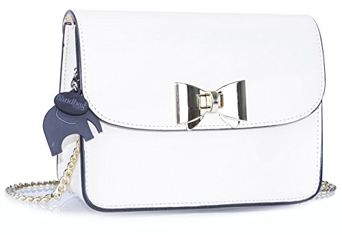 87cfb77e9b1b Big Handbag Shop Small Structured Smooth Genuine Italian Leather Shoulder  Bag (White)