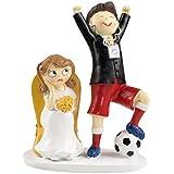 Mopec Y686 - Figura de pastel pareja de novios y fútbol, 14,5 x 19,5 cm