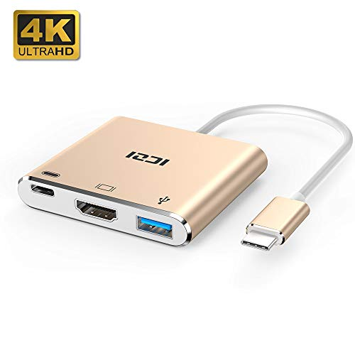 ICZI Adaptador USB Tipo C a HDMI de Aluminio, Hub USB C HDMI 4K Dex Station + USB 3.0 + USB PD Carga Rapida con Conectores Niquelados para Dispositivos USB-C con DP ALT Modo. Rosa