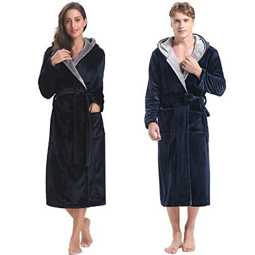 Aibrou Pyjama Homme Polaire Robe Peignoir Pas Cher personnalisé Robe Chambre Homme Longue Hiver Marine EU52-54
