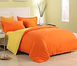 zhiyuan housse de couette 2 taies avec couleur unie 220x240cm orange et jaune. Black Bedroom Furniture Sets. Home Design Ideas