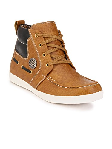 Wave Walk Men Trendy Synthetic Leather Tan Boots  available at amazon for Rs.699