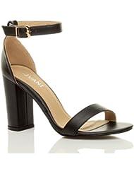 De alta para mujer en el talón en el tobillo para bloque de diseño de Leigh Ann Tennant sandalias de nieve de fiesta zapatos de tamaño de la funda de bombas