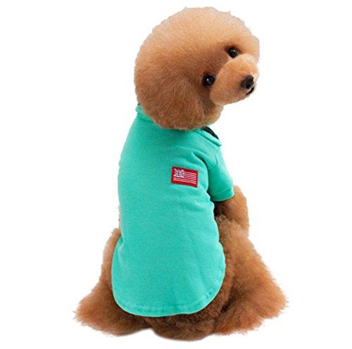 Yuncai Weich Warm Hund Kostüm Baumwolle T-Shirt für Haustier Poloshirt Grün 2XL