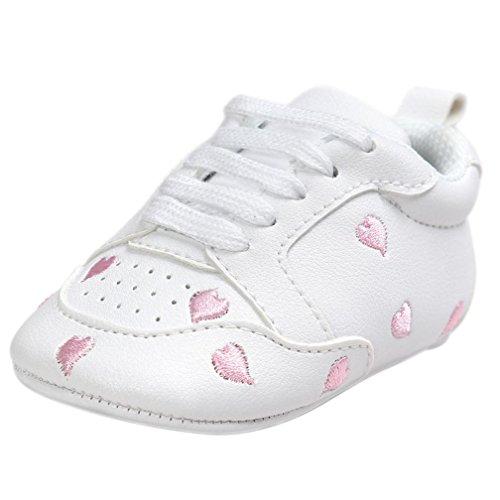 Babyschuhe Weiß, FNKDOR Jungen Mädchen Liebe Stickerei Schlupfschuhe Krabbelschuhe, 0-18 Monate (6-12 Monate, Pink)