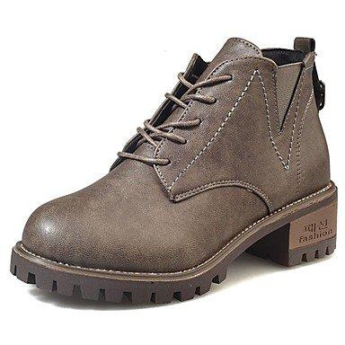 RTRY Scarpe Donna Pu Cadere Comfort Stivali Chunky Tallone Punta Tonda Mid-Calf Boots Lace-Up Per Casual Kaki Marrone Chiaro Nero US8 / EU39 / UK6 / CN39