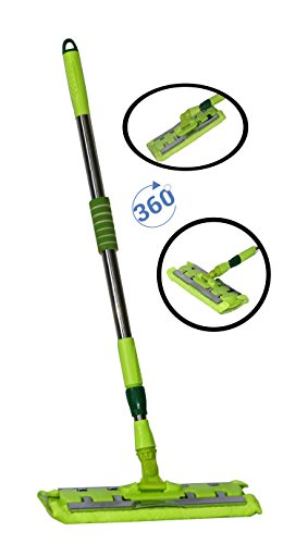 Fusine™ Flat Mop Floor Dust Mop Kit with 1 Microfiber Mop Pad Refill and 1 Non-slip Stainless Steel Extendable Handle for Cleaner