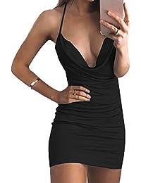 OUFour Donne Estate Bodycon Vestito Moda Tinta Unita Abiti a Tubino Strette Abito  da Festa Partito Cocktail Sexy Scollo V… b48c9d9b7b2