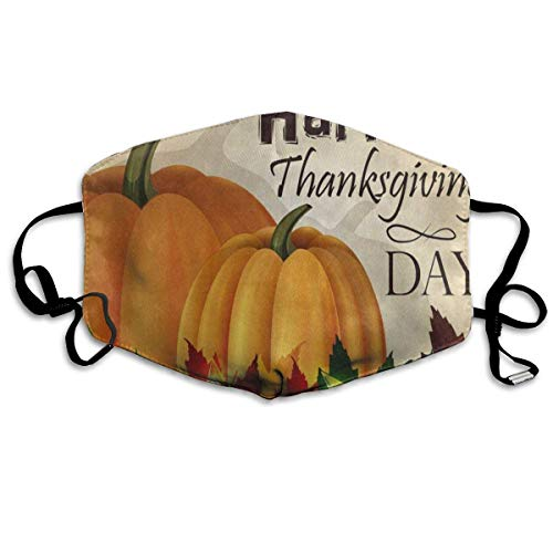 Pizeok Dustproof Anti-Bacterial Washable Reusable Happy Thanksgiving Day Pumpkin Maple Leaf Harvest Mouth Cover Mask Respirator Germ Protective Breath Healthy Safety Warm Windproof Mask Design8
