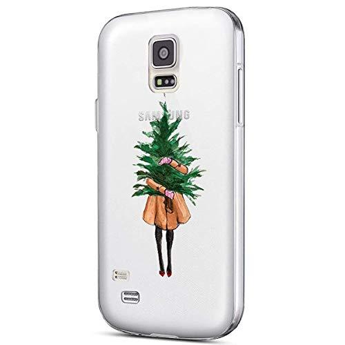 Kompatibel mit Handytasche Galaxy S5 Weihnachten Silikon Hülle Crystal Clear Durchsichtige Hülle Ultradünn Transparent Handyhüllen TPU Bumper Case Cover,Mädchen Weihnachtsbaum