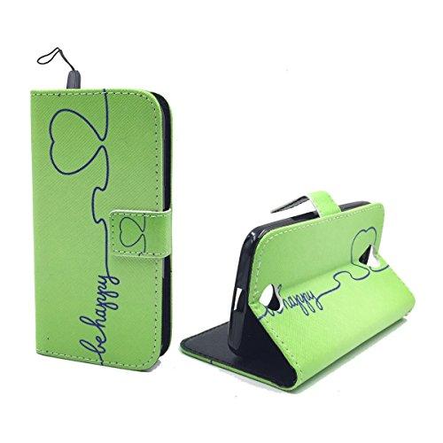 König-Shop Handy-Hülle für Acer Liquid Z330 Klapp-Hülle aus Kunst-Leder | Inklusive Panzer Schutz Glas 9H | Sturzsichere Flip-Case in Grün | Im Be Happy Grün Motiv