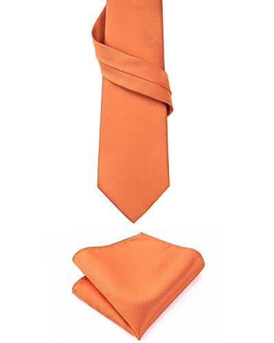Hi-Tie, Seiden-Krawatte für Herren mit Manschettenknöpfen und Taschentuch Gr. Einheitsgröße, Orange