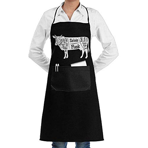 Unisex Long Aprons Beef Cattle Cut of Beef Kitchen Sleeveless Anti-Fouling Overalls Portable Pocket...