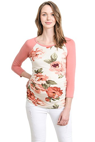 LaClef Mutterschafts T-Shirt für Frauen Klein Rosa Blumen/Malvenfarben