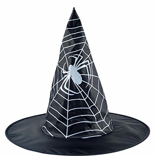 Mode-Hexe-Hut Cap Transer® Erwachsene Frauen Hüte Halloween Kostüm-Party Kostüm Zubehör Drucken Spinne Schwarz Hut Mützen Größe: Höhe: (Halloween Jersey Baseball Kostüme)