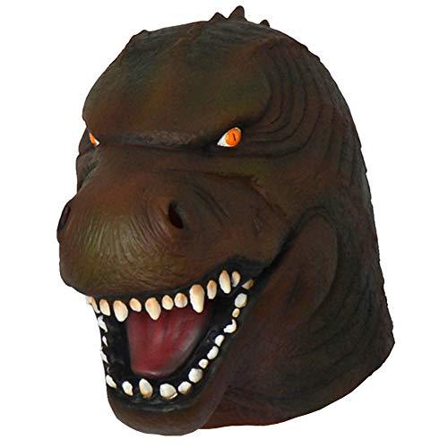 Godzilla Neuheit Dinosaurier Gesichtsmaske Halloween Monster Film Cosplay Kostümparty Latex Drachentier Perücke Overhead Kostüm Maske Spielzeug Erwachsene (Dinosaur Maske A)