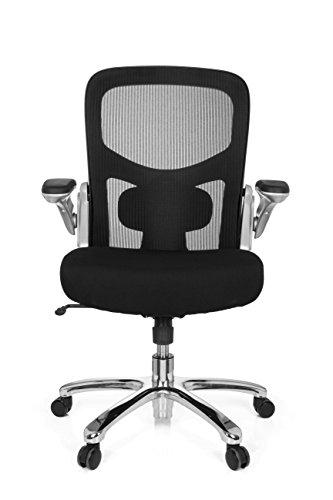 hjh OFFICE 736130 Büro-Schreibtisch-Stuhl bis 220-kg Instructor SW X-XL Netz-Stoff, Schwarz, klappbare Armlehnen, Netz-Rücken - Home Büro-schreibtisch,
