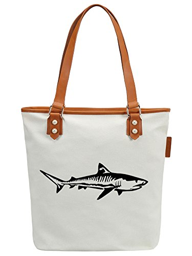 Ladies Weiß CHU Leather Tote Shoulder Bag Handbag Canvas Shark S Animal Womens ZHx4wggq8