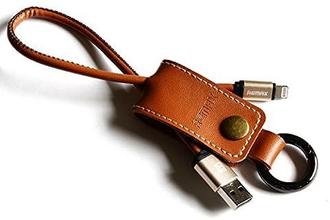 Ladekabel Schlüsselanhänger Echtleder, Länge 32cm, Apple iPhone, Braun, edle hochwertige Geschenkidee, nützliches ausgefallenes Datenkabel für Auto KFZ iPad Macbook HTC Samsung Galaxy Note, schöner wertiger Anhänger für Ihn und Sie, funktionales günstiges Designer Leder Kabel für