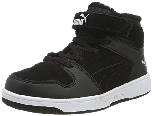 PUMA Baby Unisex-Kinder Basket Flower Ac Inf Sneaker, Schwarz (Puma Black-Puma White 01), 34 EU (1.5 UK) - Puma Slipper