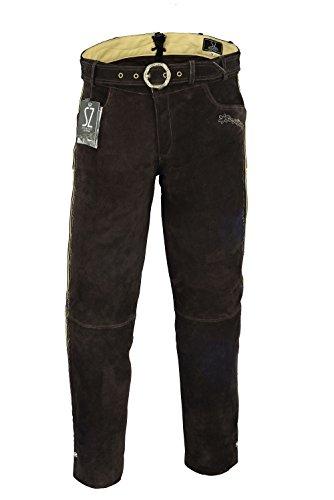 SHAMZEE Trachten lederhose lang inklusive Gürtel aus Echtleder in braun farbe größe 46 - 62 (48, Braun)