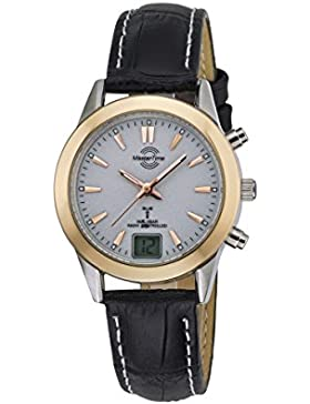 Master Time Funk Advanced Series Damenuhr MTLS-10474-21L, Leder Armbanduhr Schwarz