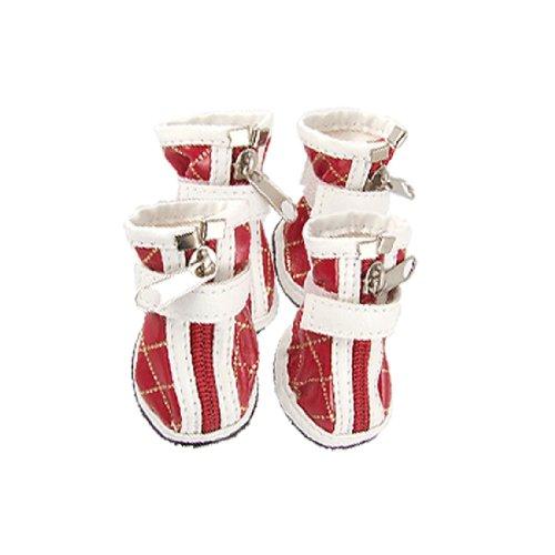 Sourcingmap PU Kunstleder mit Reißverschluss Pet Dog Stiefel Argyle Schuhe, Größe 4, Rot/Weiß (Argyle-schuh)