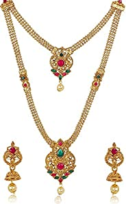 Shining Diva Fashion Latest Long Design Necklace Set for Women Wedding Traditional Gold Plated Jewellery Set f