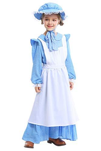 nier Colonial Bauer Kostüm, Viktorianische Maid Kostüm Bauer Dienstmagd büchertag Kostüm Prairie Kleid mit Schürze und Mütze L ()