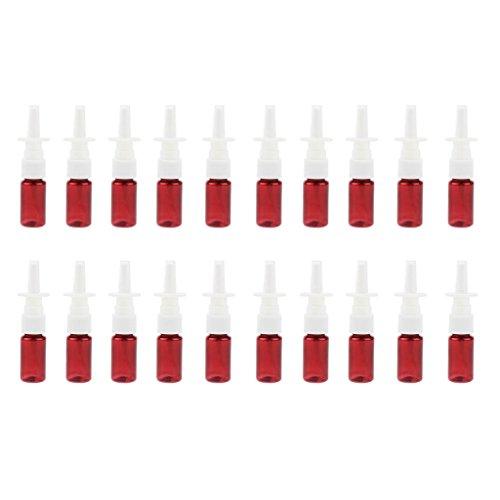 Homyl 20er Leere Nasenspray-Flasche mit Fingerzerstäuber Sprühflasche Nasenzerstäuber Braunglas Vaporizer, 10ml