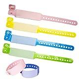 SwirlColor Id Armband Kinder, Einweg Event Armbänder PVC SOS Notfall Armband für Kinder Sicherheits Armband-100 Pack (Kinder, Rosa+Gelb+Blau+Grün)