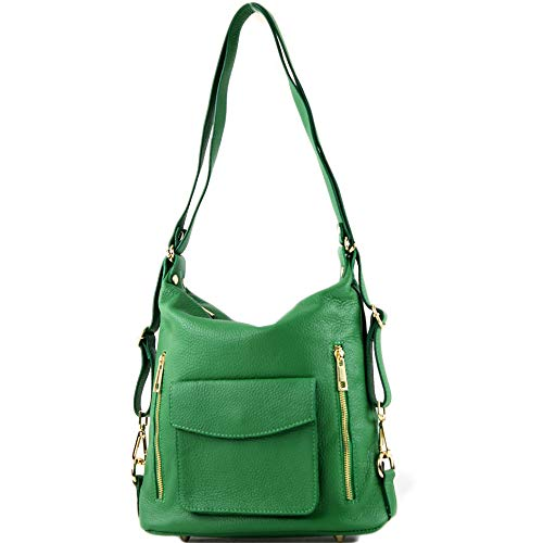 modamoda de - T174 - ital Damen Rucksack Tasche 2in1 aus Leder, Farbe:Blattgrün Grüne Tasche