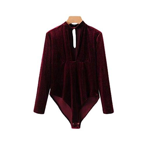 YAANCUN Donna Sexy Slim Velluto Magliette Bodysuit Maniche Lunghe Profondo V-Collo Collage Tops Jumpsuit Borgogna