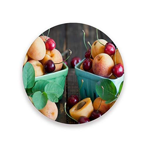 Fruit Apricot Cherry Leaf Runde saugfähige Keramik Stein Getränkeuntersetzer Kaffeetassen Matten Set für Home Office Bar Küche (Set von 1 Stück), keramik, multi, 4er-Set - Cherry Bar Set