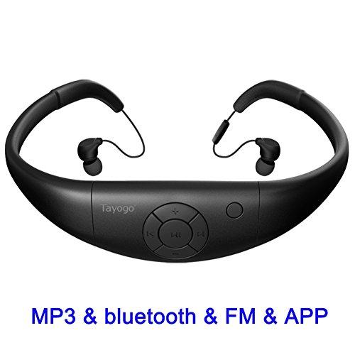 Tayogo Etanche Lecteur MP3 Bluetooth Ecouteurs pour Natation, Stockage 8GB Imperméable Lecteur MP3 sous l'eau 3M IPX8 Etanche FM Radio pour Course Marche Randonné SPA et autre Sports Nautiques Noir
