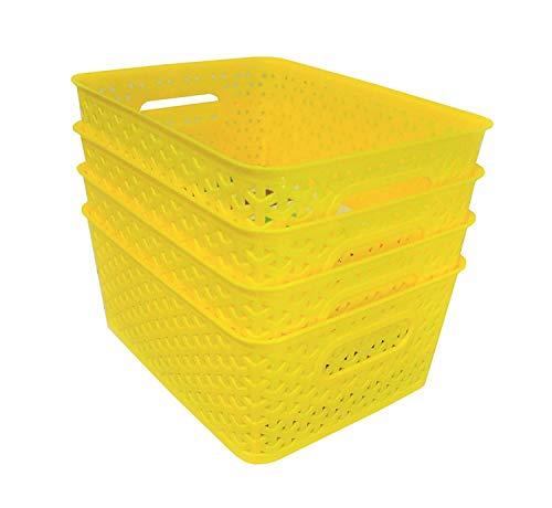 Xllent® Yellow Basket (Set of 4) for Multipurpose Use/Fruit & Vegetable Basket/Storage Basket/Makeup Organiser/Office Stationary Storage/Bins/Organiser/Container Box, Size in cm {26 + 20+ 11}