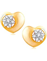 VK Jewels Tiny Heart Gold And Rhodium Plated Alloy CZ American Diamond Stud Earrings For Women [VKER1752G]