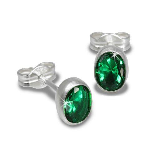 SilberDream Damen-Ohrstecker mit oval grünem Zirkonia Glitzerstein 925 Sterling Silber SDO552G