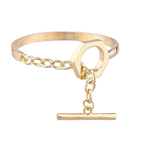 Lux Accessories Rocker Gold tone Toggle Clasp Bracelet
