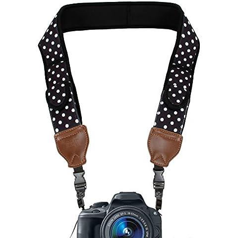 USA Gear Correa Neopreno Cámara Reflex con Bolsillos Accesorios – Para Nikon D5300 5200 D7100 D5500 D3300 D3200 D610 / Canon EOS 700D 750D 1200D 70D / Sony Alpha A6300 , A6000 , A7 Pentax K50 y más!