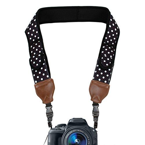 Correa para el Cuello para Cámara Réflex | Soporte Hombro de Cámaras DSLR por USA Gear para Nikon D5300 D5500 D3300 D3200 D500 Canon EOS 700D 750D 1300D 6D Sony Alpha A6300 A6000 A7 Pentax K50 y muchas más
