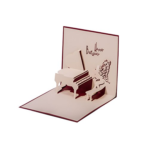 """Glückwunschkarte""""Klavier"""" Originelle Geburtstagskarte, Glückwunschkarte, Einladungskarte für Pianisten und Musikliebhaber Pop Up 3D Karte blanko mit Umschlag im Set"""