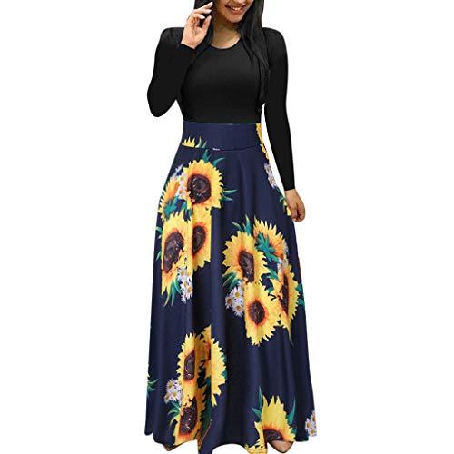 Kleid Damen Lang Partykleid Langarm Maxikleid High Waist Abendkleider Sonnenblume Print Freizeitkleid Sundress Freizeitkleid Swing-Kleid, Marine