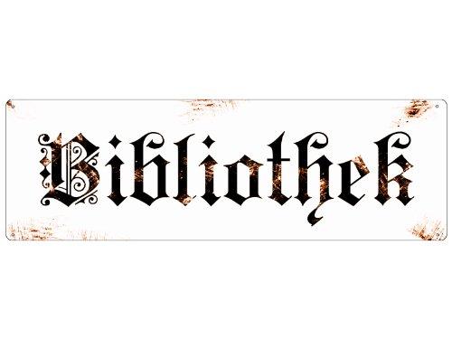 METALLSCHILD Blechschild Türschild BIBLIOTHEK Shabby Vintage Deko Bücherregal -