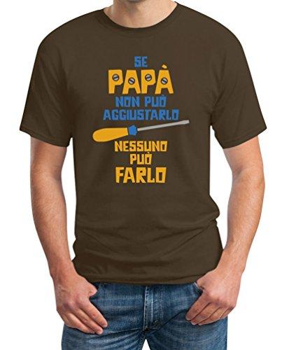 Regalo festa del papà - se papà non può aggiustarlo t-shirt maglietta uomo large marrone