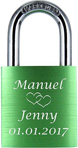 ♥ LoveGoals Liebesschloss   individuell graviert   ideales Geschenk für Paare & Verliebte   hochwertige Geschenkverpackung   Schloss mit 2 Schlüsseln   Oberfläche eloxiert   Motiv M005   (Grün) -