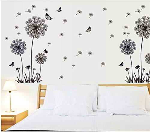 Preisvergleich Produktbild ZBYLL Wall Sticker Schwarz Löwenzahn Einfachen Geblümten Abnehmbare Feinstaubplakette