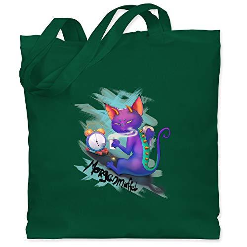Kostüm Funky Katze - Statement Shirts - Morgenmuffel - Unisize - Dunkelgrün - WM101 - Stoffbeutel aus Baumwolle Jutebeutel lange Henkel