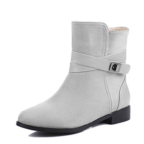 AllhqFashion Damen Blend-Materialien Rund Zehe Niedriger Absatz Niedrig-Spitze Stiefel Grau